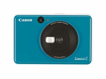 Canon Zoemini C digitale 5 MP Sofortbildkamera (Sucher, Blitzlicht, Micro-SD Kartenslot, Selfie Spiegel (11x8 mm), 5 x 7,6 cm Aufkleber, ZINK-Druck tintenfrei), seaside blue - 5