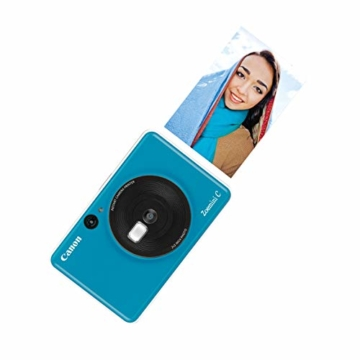 Canon Zoemini C digitale 5 MP Sofortbildkamera (Sucher, Blitzlicht, Micro-SD Kartenslot, Selfie Spiegel (11x8 mm), 5 x 7,6 cm Aufkleber, ZINK-Druck tintenfrei), seaside blue - 10