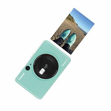 Canon Zoemini C digitale 5 MP Sofortbildkamera (Sucher, Blitzlicht, Micro-SD Kartenslot, Selfie Spiegel (11x8 mm), 5 x 7,6 cm Aufkleber, ZINK-Druck tintenfrei), mint green - 5
