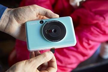 Canon Zoemini C digitale 5 MP Sofortbildkamera (Sucher, Blitzlicht, Micro-SD Kartenslot, Selfie Spiegel (11x8 mm), 5 x 7,6 cm Aufkleber, ZINK-Druck tintenfrei), mint green - 6