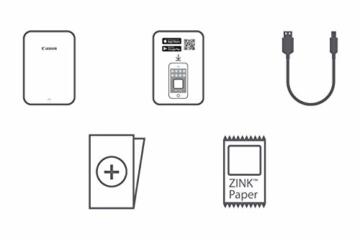 Canon Zoemini Mobiler Mini-Fotodrucker (Akku, 5 x 7,5cm Fotos, ZINK-Druck tintenfrei, für Handys iOS und Android via blautooth, 160 g) schwarz - 3