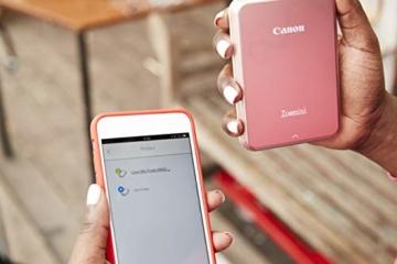 Canon Zoemini Mobiler Mini-Fotodrucker (Akku, 5 x 7,5cm Fotos, ZINK-Druck tintenfrei, für Handys iOS und Android via blautooth, 160 g) rosegold - 7