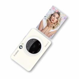 Canon Zoemini S digitale 8 MP Sofortbildkamera und Mini-Fotodrucker (Sucher, Ringblitz/ LED-Blitz, Micro-SD Kartenslot, Canon Mini Print App, ZINK-Druck tintenfrei), pearl white - 1