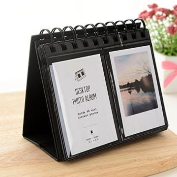 Jun Sofortbildkamera Fotoalbum Schreibtisch Ständer Kalender für Fujifilm Instax Polaroid Foto 7,6cm 68teilig schwarz - 1