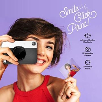 Kodak PRINTOMATIC Digitale Sofortbildkamera, Vollfarbdrucke auf Zink 2x3-Fotopapier mit Sticky-Back-Funktion - Drucken Sie Memories Sofort (Schwarz) - 2