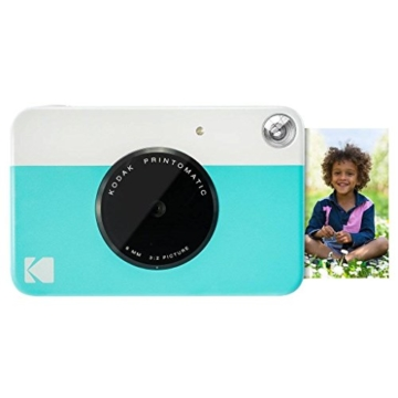 Kodak Printomatic Sofortbildkamera (Blau) Basis-Paket + Zinkpapier (20 Blätter) + Luxus-Etui + Bequemer Halsriemen - 2