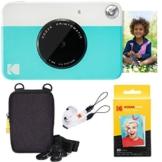 Kodak Printomatic Sofortbildkamera (Blau) Basis-Paket + Zinkpapier (20 Blätter) + Luxus-Etui + Bequemer Halsriemen - 1