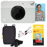 Kodak Printomatic Sofortbildkamera (Grau) Basis-Paket + Zinkpapier (20 Blätter) + Luxus-Etui + Bequemer Halsriemen - 1