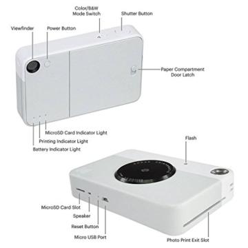 Kodak Printomatic Sofortbildkamera (Grau) Basis-Paket + Zinkpapier (20 Blätter) + Luxus-Etui + Bequemer Halsriemen - 3