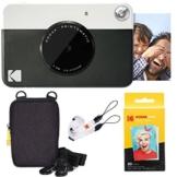 Kodak Printomatic Sofortbildkamera (Schwarz) Basis-Paket + Zinkpapier (20 Blätter) + Luxus-Etui + Bequemer Halsriemen - 1