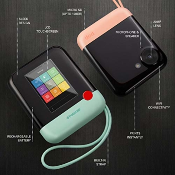 Polaroid POP 2.0 20MP Digital Sofortbildkamera mit 3,97 Touchscreen-Display, Zink Zero Ink-Technologie druckt 3,5 x 4,25 Fotos, Schwarz - 3