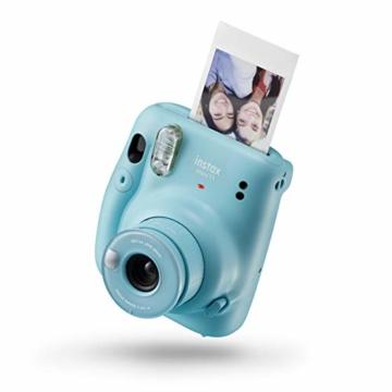 Instax Mini 11 Camera, Sky Blue + Fujifilm Instax Mini Instant Film, 1x 10 Blatt (10 Blatt), Weiß - 2