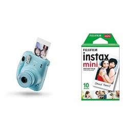 Instax Mini 11 Camera, Sky Blue + Fujifilm Instax Mini Instant Film, 1x 10 Blatt (10 Blatt), Weiß - 1